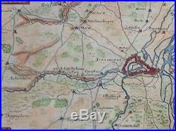 FRANCE STRASBOURG & ENVIRONS 1716 NICOLAS DE FER 18e CENTURY ANTIQUE MAP