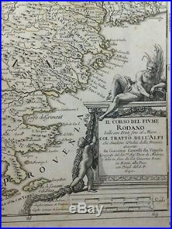 FRANCE THE RHONE VALLEY MONT BLANC 1690 GIACOMO ROSSI LARGE ANTIQUE MAP 17th C