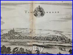 FRANCE TONNERRE (BURGUNDY) 1661 MATHAEUS MERIAN 17e CENTURY LARGE ENGRAVED VIEW