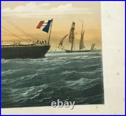 FRENCH LINES PAQUEBOT LE PANAMA by LEDUC 1880 19TH C. LARGE LITHOGRAPHIC VIEW
