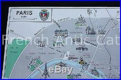 Famous french antique school map poster PARIS france Eiffel tower Champs Elysées