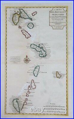 Fine H-C Antique Map of French Antilles CARTE DES ANTILLES by Delisle in 1717