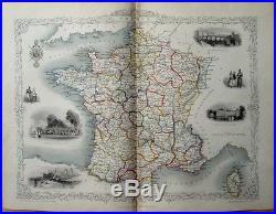Fine Original 1851 Antique Tallis Rapkin Map Of France