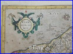 Flanders 1628 Gerard Mercator/jodocus Hondius Large Antique Engraved Map