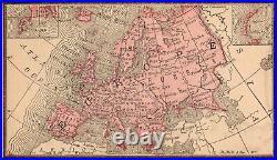 Framed Original 1887 Antique Map EUROPE Germany Italy Ireland Scotland England