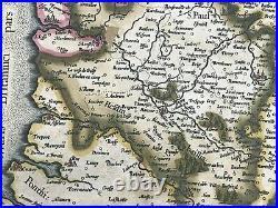France Artesia Artois 1580 Gerard Mercator Rare Large Antique Map 16th Century