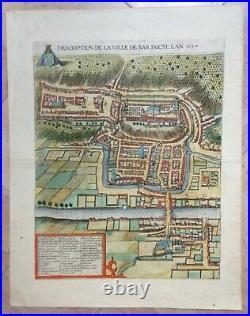 France Bar-le-duc 1617 Braun & Hogenberg Large Antique View In Colors