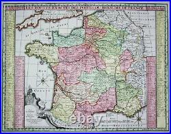 France Frankreich Poste Post Postkarte Postwesen carte gravure Seutter 1730