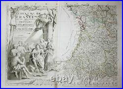France Frankreich wall map carte Karte Kupferstich engraving Nolin 1760