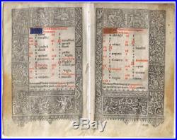 France, Hours of the Virgin, Calendar, 1503, six vellum leaves
