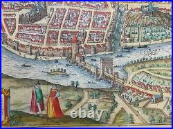 France Saintes 1582 Braun & Hogenberg Large Antique View In Colors