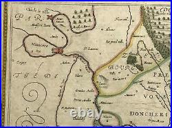 France Sedan Raucourt Donchery 1631 Johannes Jansson Large Unusual Antique Map
