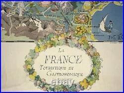 France Touristic & Gastronomic Dated 1948 W. Landelle Large Pictorial Map
