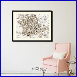 France Vintage Sepia Map Canvas Print, Picture Frame Gifts Home Decor Wall Art D