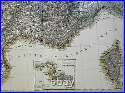 France in Counties 1858 Stulpnagel large four sheet highly detailed map