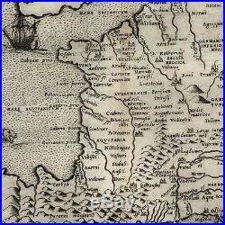 France sea monster tall ship 1599 Ruscelli Rosaccio antique map ancient Ptolemy