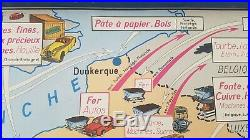 French vintage school poster map France economy 1960