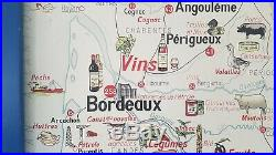 French vintage school poster map France fruit wine food animal economical 1960