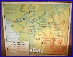 French vintage school poster map paris france rivers seine loire