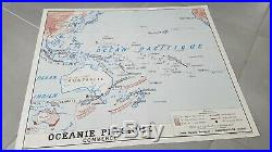 French vintage school poster worldmap Oceania continent map Melbourne 1960