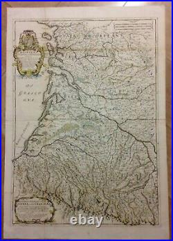 Gascogne France 1695 Rossi-cantelli Da Vignola Large (double Page) Antique Map