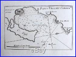 Giacomo Alagna PORTO VECCHIO CORSICA CORSE FRANCE TIRRENO antique map RARA