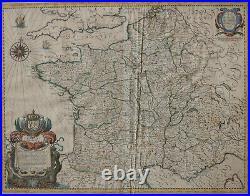 Hand colored Engraved Map of France, L'Empire Francois, Tavernier, Paris 1637