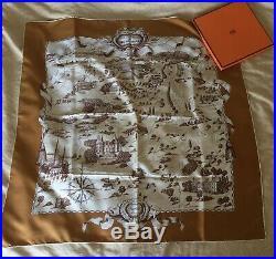 Hermes scarf LES CHEMINS DE L'ILE DE FRANCE 1952 Very RARE, Silk twill VINTAGE