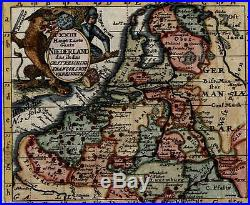 Holland Netherlands Austrian Empire France 1747 old antique color map