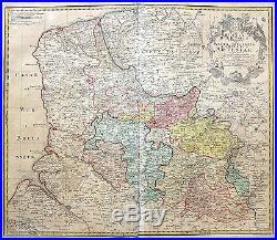 Homann Original altkol. COPPERPLATE MAP Artois Lille France 1742