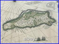 Isle De Re & Oleron France 1664 Willem Blaeu Nice Large Antique Map 17th Century