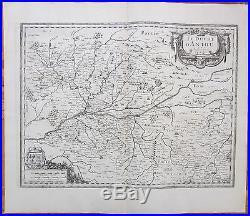 Janssonius Large Map France Anjou Angers Saumur Poitiers Langres 1650