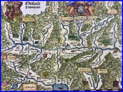 Johannes Stumpf 1500-1577 SWITZERLAND & ITALY folio woodcut map 1548