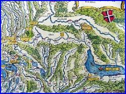 Johannes Stumpf 1500-1577 SWITZERLAND double page folio woodcut map 1548