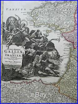 Kingdom of France Ancien Regime Provinces c. 1740 Homann decorative folio map