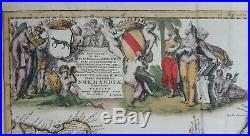 LARGE ANTIQUE PETRO PERSOY c. 1650 PERIOD MAP NORMANDY FRANCE