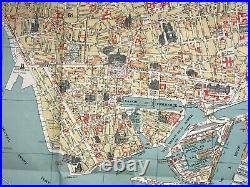 LE HAVRE FRANCE LARGE PICTORIAL MAP by BLONDEL LA ROUGERY 20th CENTURY