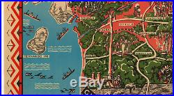 LINEN-ORIGINAL Vintage Illustrated Map Poster FRANCE COLONY CAMEROON West Africa