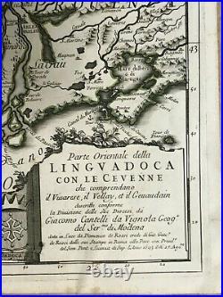 Languedoc France 1693 Rossi-cantelli Da Vignola Large (double Page) Antique Map