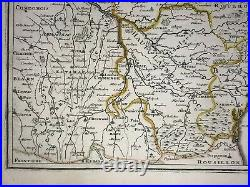 Languedoc France 1705 Nicolas De Fer Nice Antique Engraved Map 18th Century