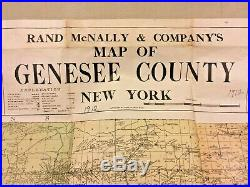 Large Antique Map of Genesee County, New York 1912 Rand McNally