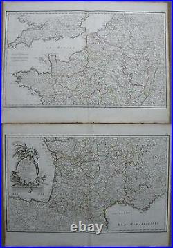 Lattre Large Map France 2 Maps 1787
