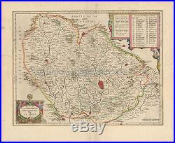 Le Mans Laval Alencon France Vintage Map Blaeu 1650 Original