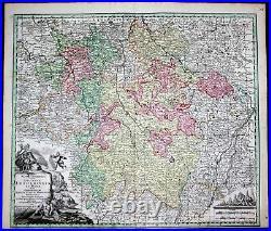 Lorraine Lothringen Nancy Metz Toul France carte gravure map Seutter 1730