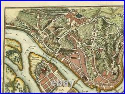 Lyon (france) 1705 Nicolas De Fer Rare Antique Engraved Plan 18th Century