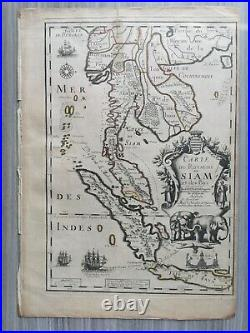 Map of Siam 1686 Placide, Embassy France to Royaume de Siam, Singapore, Thailand
