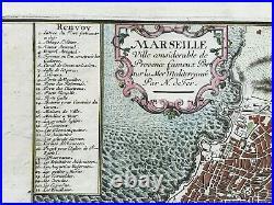 Marseille (france) 1705 Nicolas De Fer Rare Antique Engraved Plan 18th Century