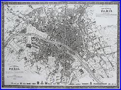 Meyer Original Steel engraving City map Paris France Plan map 1844