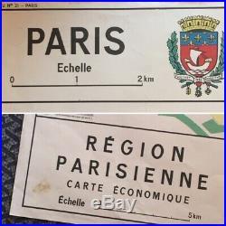 Mid Cent. Vtg PARIS SCHOOL MAP Monuments & Economy Cars Jewel Hte Couture Airport