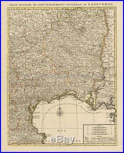 Montpellier Narbonne Beziers France Vintage Map Covens Mortier 1745 Original
